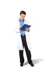 Doctor and book. At white background Royalty Free Stock Images