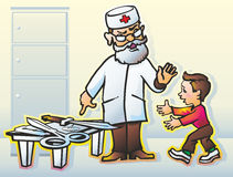 Doctor & boy. Doctor forbids child baby boy sharp cutting objects knives razor blades scissors button on the table Royalty Free Stock Photos