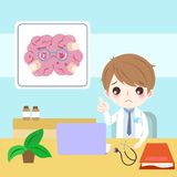 Doctor with brain. Cartoon doctor with brain health concept on the blue background vector illustration
