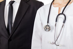 Doctor and businessman. Young doctor and businessman have a meeting royalty free stock photo