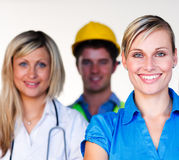 Doctor, businesswoman and architect smiling Stock Photo