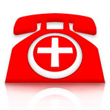 Doctor on call. Red medical first aid telephone with white cross isolated over white background Royalty Free Stock Images