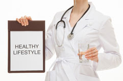 Doctor calling to healthy lifestyle Stock Images