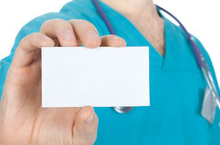 Doctor with card in hand Stock Photo