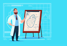 Doctor Cardiologist Over Flip Chart With Heart Medical Clinics Worker Hospital. Flat Vector Illustration stock illustration