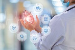Doctor cardiologist shows a heart. Doctor cardiologist shows a heart on the blurred background royalty free stock photos