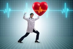 The doctor cardiologist supporting cardiogram heart line. Doctor cardiologist supporting cardiogram heart line stock illustration