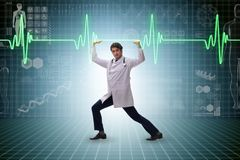 The doctor cardiologist supporting cardiogram heart line. Doctor cardiologist supporting cardiogram heart line royalty free stock photo