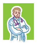 Doctor cartoon. Cartoon illustration of male doctor smiling with stethoscope crossing arms against green background Stock Images
