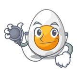 Doctor cartoon boiled egg sliced for breakfast. Vector illustration stock illustration