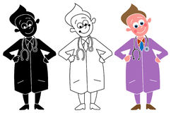 Doctor cartoon. Brush stroke line art funny cartoon image of a doctor Stock Images