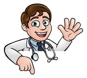 Doctor Cartoon Character Above Sign Pointing Stock Photography