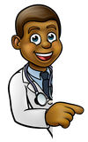 Doctor Cartoon Character Pointing Sign Stock Photo