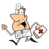 Doctor cartoon illustration. Cartoon illustration of a doctor running holding a bag Stock Photography