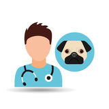 Doctor cartoon veterinarian dog pug Royalty Free Stock Photo