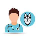 Doctor cartoon veterinarian dog siberian Royalty Free Stock Image