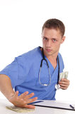 doctor and cash Stock Photography