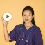 Doctor and CD. Stock Photos
