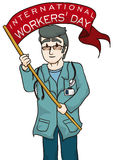 Doctor Celebrating Workers' Day with a Long Flag, Vector Illustration Royalty Free Stock Photography