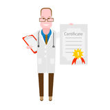 Doctor with a certificate. Illustration of a doctor on a white background Royalty Free Stock Image
