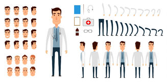 Doctor character creation set.. Icons with different types of faces, emotions, clothes. Front, side, back view of male person. Moving arms, legs. Flat and Royalty Free Stock Image