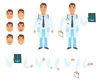Doctor character generator. Vector cartoon style man doctor character generator. Different emotions, mouth positions and hand gestures. Isolated on white Stock Photography