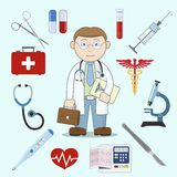 Doctor character with medicine icons Stock Photography