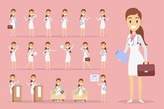 Doctor character set. Female doctor character set with poses and emotions Stock Photos