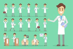 Doctor character set. Male doctor character set with poses and emotions Royalty Free Stock Photography