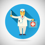 Doctor character with suitcase syringe stethoscope Stock Photo