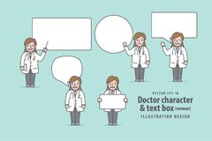 Doctor character woman & text box illustration vector on green Royalty Free Stock Photos