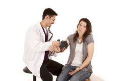 Doctor check blood pressure shrug Stock Photography