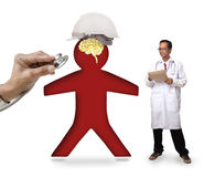 Doctor checking human icon wearing safety helmet protect smart b Royalty Free Stock Photography