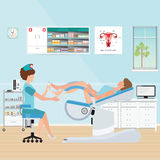 Doctor checking patient on Gynecological chair in gynecological Stock Photography