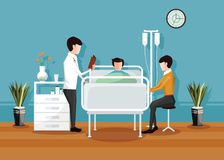 Doctor checking a patient in the hospital, Hospital room interior. Vector illustration stock illustration