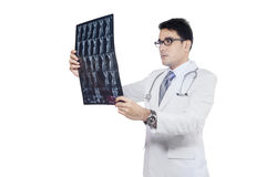 Doctor checking x-ray or roentgen image Royalty Free Stock Images
