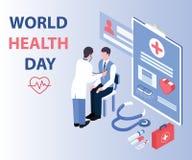 Doctor a Checking su paciente en concepto isométrico de las ilustraciones del día de salud de mundo stock de ilustración