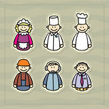 Doctor, chef, waitress, manager, consultant, construction little funny illustration Stock Images
