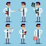 Doctor, chemist, pharmacist, surgeon man cartoon characters vector set Royalty Free Stock Photo