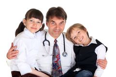 A doctor with children Stock Photo