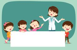 Doctor and Children with banner. Doctor and children holding blank signs presentation.children and banner.Boy and Girl pointing blank papers illustration vector illustration