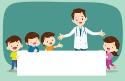 Doctor and Children boyand girl with banner. Doctor and children holding blank signs presentation.children and banner.Boy and Girl pointing blank papers vector illustration