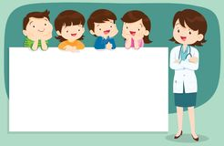 Doctor and Cute Children with banner. Doctor and children holding blank signs presentation.children and banner.Boy and Girl pointing blank papers illustration royalty free illustration