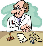 Doctor in clinic cartoon illustration. Cartoon Illustration of Male Medical Doctor in Clinic Consulting Room with Stethoscope and Prescriptions Royalty Free Stock Images