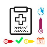 Doctor with clipboard. clipboard with checklist. Medical report icon stock vector illustration flat design Stock Image