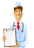 Doctor with clipboard and phonendoscope Royalty Free Stock Images