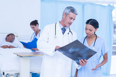 Doctor with colleague and patient behind Stock Image