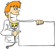 Doctor in color. A male doctor with blank sign board Stock Images