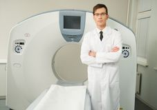 Doctor at the computed tomography Royalty Free Stock Image