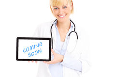 Doctor with computer Royalty Free Stock Images
